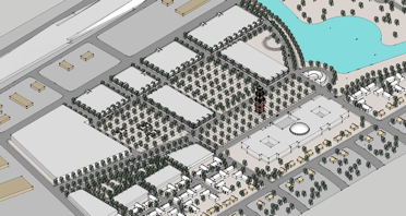 Civic Center masterplan, Forest Hill, Texas.The diagonal was a pre-existing easement