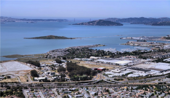 An aerial view of the future home of the Berkeley Global Campus