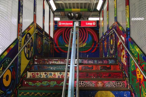 Caption: Street art at the 18th Street 'L' Station on the CTA Pink Line. Credit: Adam Jones