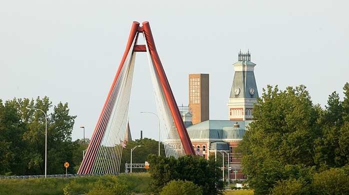 The GI Bridge in Columbus, Indiana, is a symbol of the city's reemergence inspired by a wide range of community interests working together under the auspices of a community foundation set up by the late Irwin Miller of Cummins Diesel Corp.